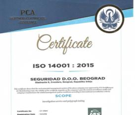 Seguridad Belgrade Certificate ISO 14001