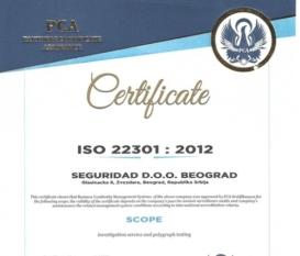 Seguridad Belgrade Certificate ISO 22301