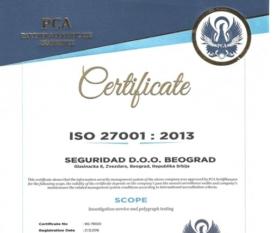 Seguridad Belgrade Certificate ISO 27001