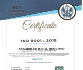 Seguridad Belgrade Certificate ISO 9001